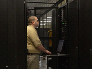 man working in hosted datacenter