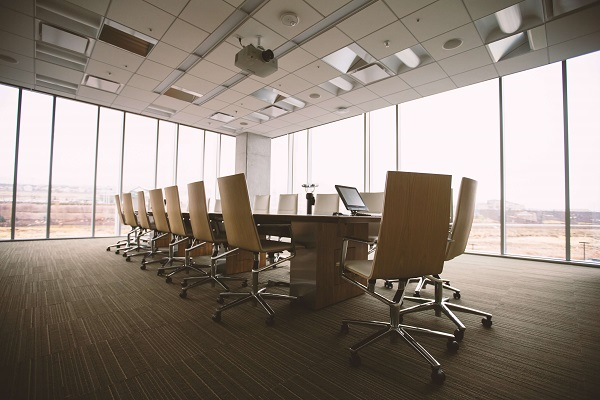 empty conference room with business phone system equipment